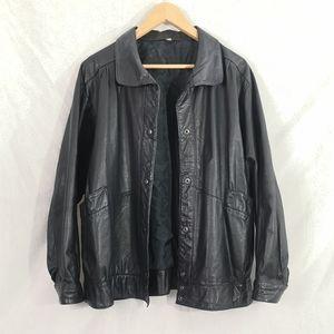 Vintage Leather Bomber Jacket L